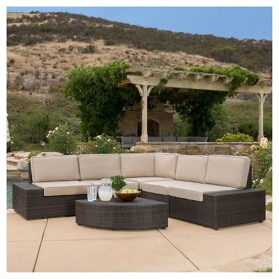 santa cruz 6pc wicker patio sofa set brown christopher knight home