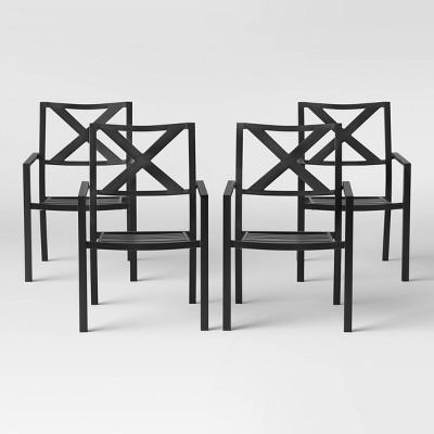 afton 4pk metal stack patio dining chair black threshold