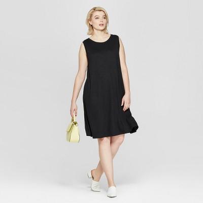 Women's Plus Size Sleeveless Midi Swing Dress - Ava & Viv™