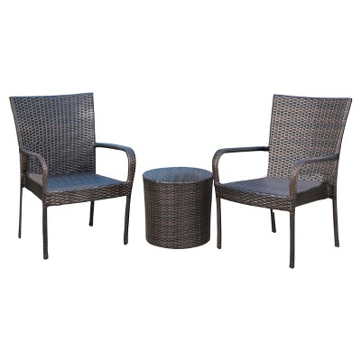 where to buy wicker chairs chair in a bag littleton 3pc all weather patio stacking chat set brown christopher knight home target