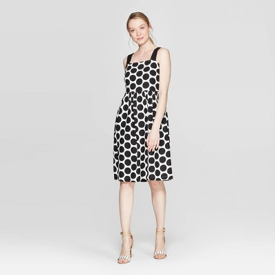 Women's Polka Dot Contrast Strap Midi A Line Dress - Who What Wear™ Black/White