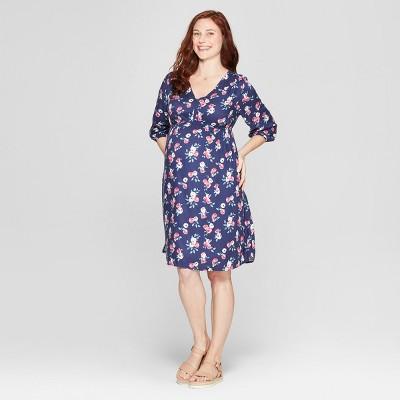 Maternity Floral Fit & Flare Dress - Isabel Maternity by Ingrid & Isabel™ Navy Floral Print
