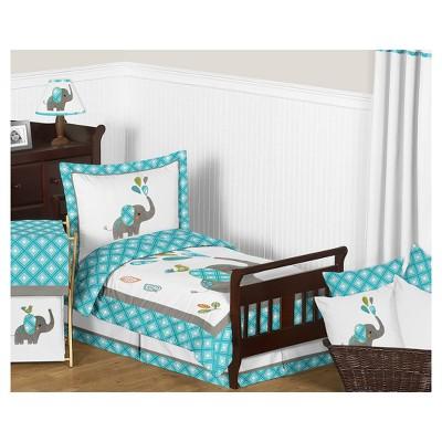 Turquoise & White Mod Elephant Bedding Set (Toddler) - Sweet Jojo Designs®