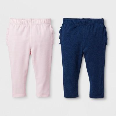 Baby Girls' 2pk Ruffle Leggings Set - Cat & Jack™ Warm Sand/Centennial Blue