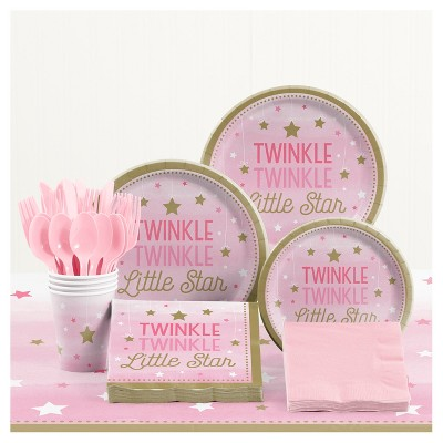 One Little Star Girl Birthday Party Supplies Kit