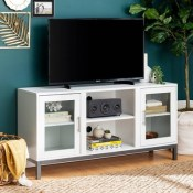 "Pierceton Modern Silver Leg 6 Cord Port TV Stand for TVs up to 58"" White - Saracina Home"
