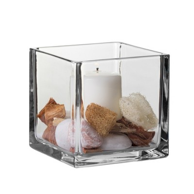 "Square Glass Vase - 6"" - Libbey"