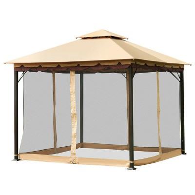 costway 2 tier 10 x10 gazebo canopy tent shelter awning steel patio garden outdoor