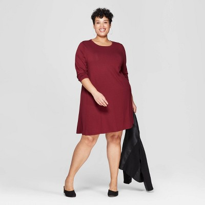Women's Plus Size Long Sleeve Scoop Neck Knit Swing Dress - Ava & Viv™