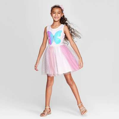 Girls' Flip Sequin Butterfly Dress - Cat & Jack™ White