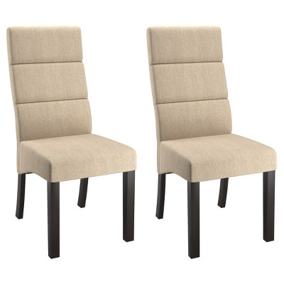 cream upholstered dining chairs spandex chair covers for banquet tall back set of 2 corliving