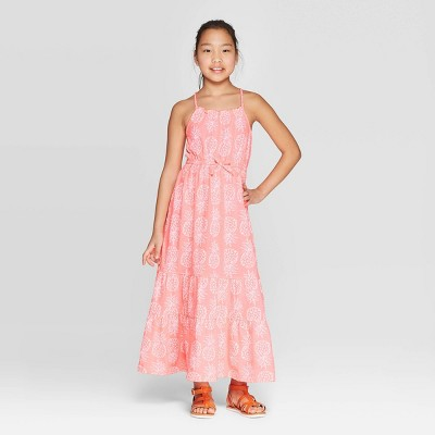 Girls' Knit Pineapple Print Maxi Dress - Cat & Jack™ Coral