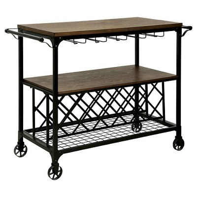 Sun & Pine Beltran Industrial Two-Tone Wine Serving Cart Metal/Medium Oak