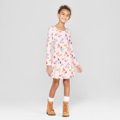 Girls' Long Sleeve Unicorn Print A Line Dress - Cat & Jack™ Pink