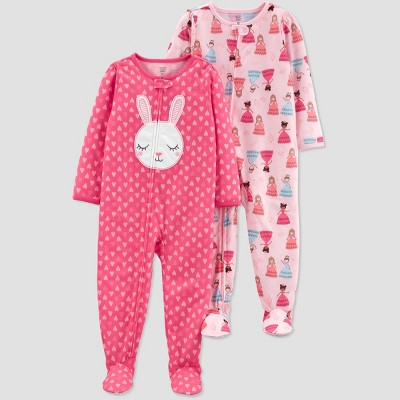 Toddler Girls' Pink Bunny Princess Footed Sleepers - Just One You® made by carter's Pink