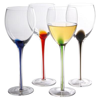 Artland® Splash 4pc White Wine Glasses Multicolored