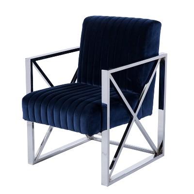 Aiden Lane Echidna Velveteen Accent Chair Deep Blue With Chrome