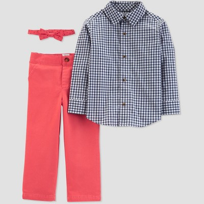Toddler Boys' Plaid and Poppy Top and Bottom Set - Just One You® made by carter's Dark Pink