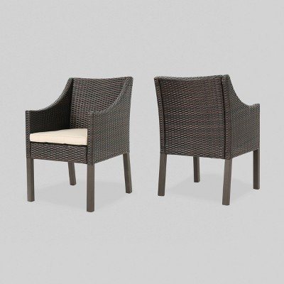 antibes 2pk wicker patio dining chair brown christopher knight home