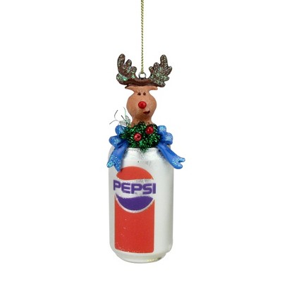 """Northlight 5"""" Glittered Classic Pepsi Can with Reindeer Topper Christmas Ornament - Brown/White"""
