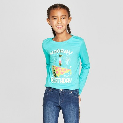 Girls' Long Sleeve Birthday Graphic T-Shirt - Cat & Jack™ Aqua