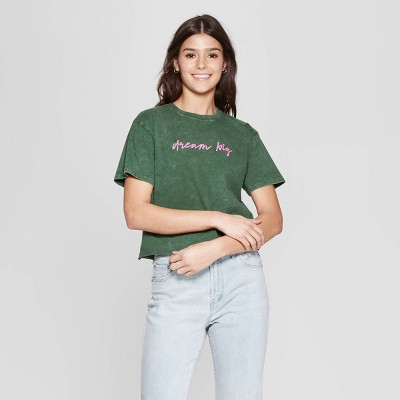 Women's Short Sleeve Crewneck Dream Big Cropped T-Shirt - Mighty Fine (Juniors') - Green