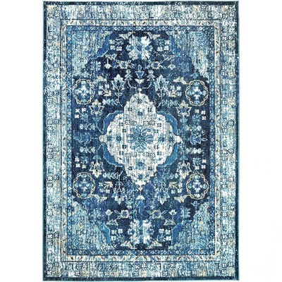 starlight willow 7 9 x 10 2 outdoor patio rug navy blue nicole miller