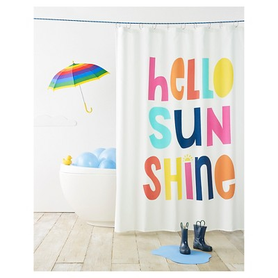 hello sunshine shower curtain white pillowfort
