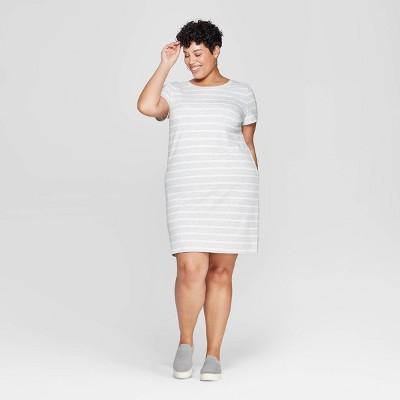 Women's Plus Size Striped Short Sleeve Crewneck T-Shirt Dress - Ava & Viv™