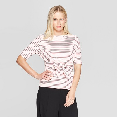 Women's Striped Elbow Sleeve Belted Top - Who What Wear™
