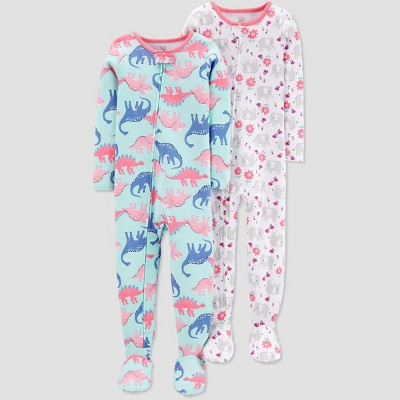 Baby Girls' Blue Dino Elephant Footed Sleepers - Just One You® made by carter's Pink/Blue