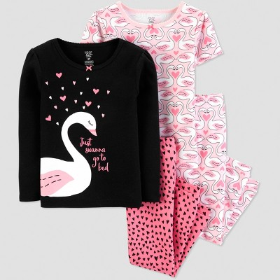 Baby Girls' 4pc Swan Pajama Set - Just One You® made by carter's Pink/Black