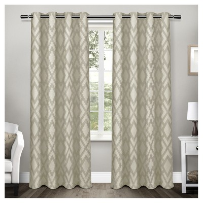 Easton Heavyweight Geometric Jacquard Linen with Woven Blackout Liner Grommet Top Window Curtain Panel Pair - Exclusive Home™