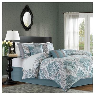 7 Piece Charlize Printed Comforter Set (Cal King) - Aqua