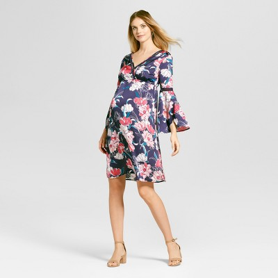 Maternity Floral Dress Navy - Fynn and Rose