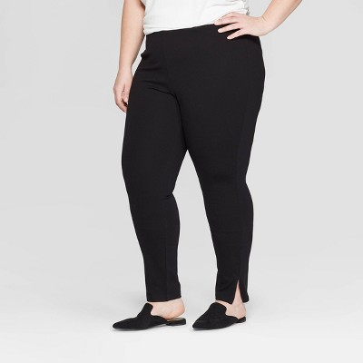 Women's Plus Size Mid-Rise Ankle Length Leggings with Zipper - Prologue™ Black