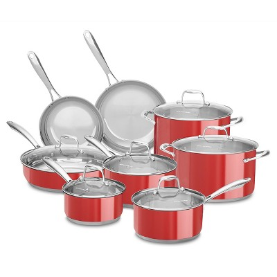 kitchen aid pans divider kitchenaid 14pc cookware set with glass lids stainless steel about this item
