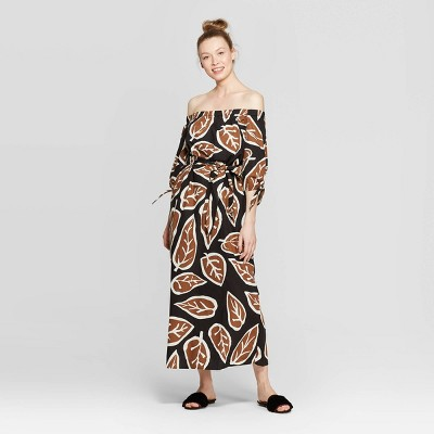 Women's Off the Shoulder Knotted Cuff Maxi Dress - Who What Wear™ Black