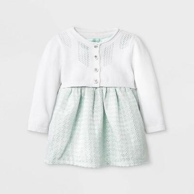 Baby Girls' Geo Jacquard Dress with Sweater - Cat & Jack™ Mint