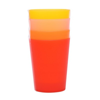 Plastic Tumblers 19oz Red/Orange - Set of 4