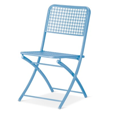 blue metal folding chairs swing chair manufacturers punch patio bistro threshold target