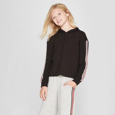 Girls' Cropped Pullover Sweatshirt - art class™ Black