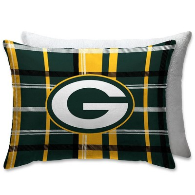 nfl green bay packers plush plaid bed pillow with sherpa back