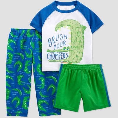 Toddler Boys' 3pc Poly Alligator Pajama Set - Just One You® made by carter's White/Green