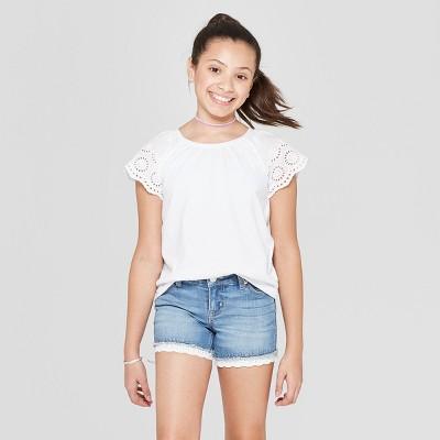 Girls' Short Sleeve Eyelet Sleeve T-Shirt - Cat & Jack™ White