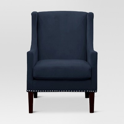 navy blue wingback chairs how to reupholster a chair cushion corner jackson velvet threshold target