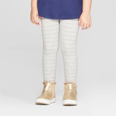 Toddler Girls' Striped Leggings - Cat & Jack™ Heather Gray/Gold Glitter