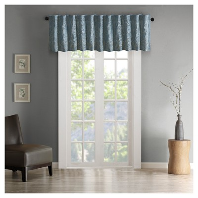 "50""x18"" Aden Faux Silk Embro Blackout Window Valance Blue"