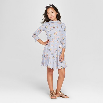 Girls' Floral Lettuce Edge Skater Dress - art class™ Blue