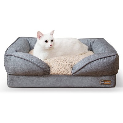 k h pet products small sized washable pet furniture comfortable over stuffed pillow top orthopedic dog bed lounger 18 x 24 inches classy gray